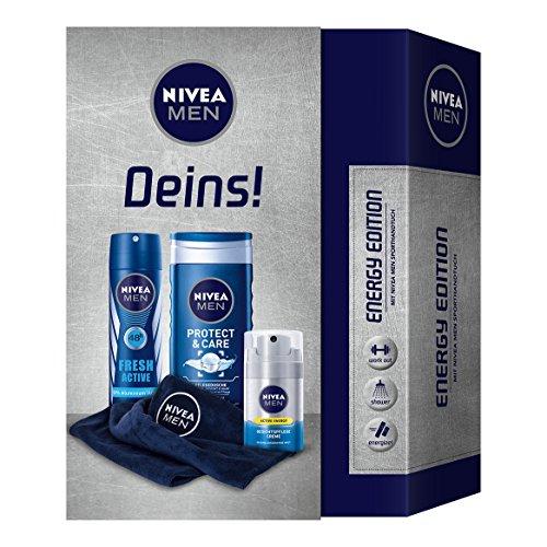 NIVEA Men Geschenkset für Männer mit Deo, Gesichtspflege Creme, Duschgel und Handtuch, Energy Edition