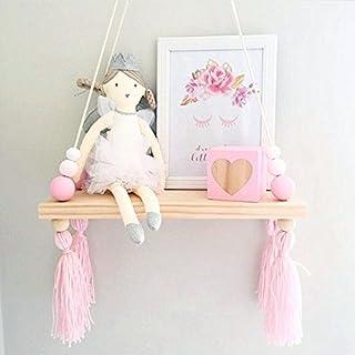 KING DO WAY Wandregal Schweberegal Holz Ständer Schaukel Hängenden Wandregal Macaron Board Mädchen Kinderzimmer, Größe: 38x14x1,2cm Weiß rosa Rosa lila