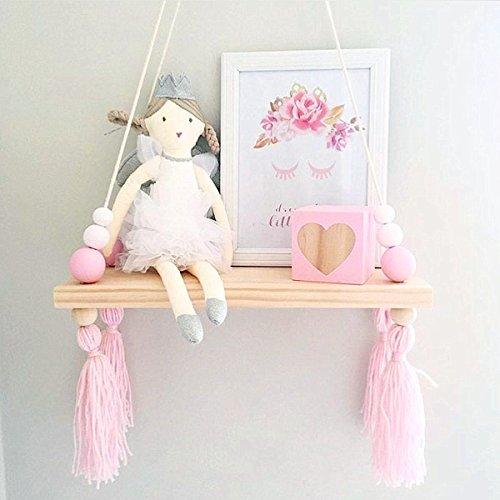 King do way mensola da parete appendere, portaoggetti pensile in legno da muro, mensole sospese creative da casa 38 x 14 x 1.2cm (rosa e bianco)