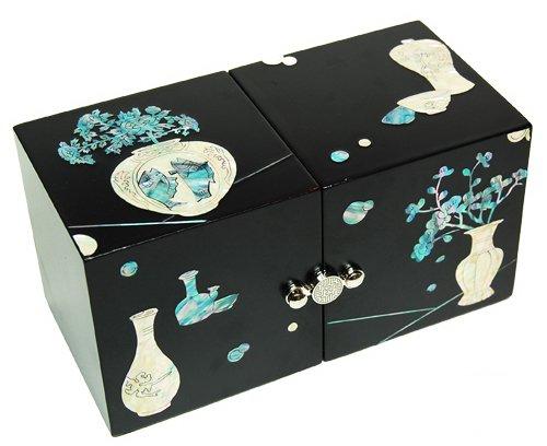 Boîte à bijoux en bois avec tiroirs escamotable, mère de perle cadeau, Porcelaine