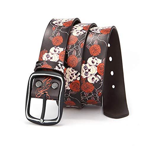 Cintura punk cintura da uomo skull cross bone stampato cintura punk cinturino in pelle casual cinturino in vita da donna cintura donna, cintura punk rock ( color : dark blue , size : 120cm )