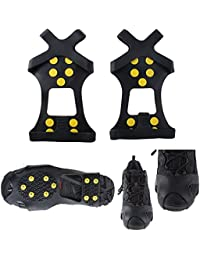 LinTimes studs de acero 10tacos de hielo hielo & nieve grips más de zapatos/botas tacos tracción picos de goma anti Easy Slip On S, XL