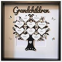 Schwarzer & silberner Glitzer Personalisierte Enkelkinder-Stammbaum-Rahmen-Weihnachtsweihnachtsgeschenk-Zuhause (maximal 14 Namen)