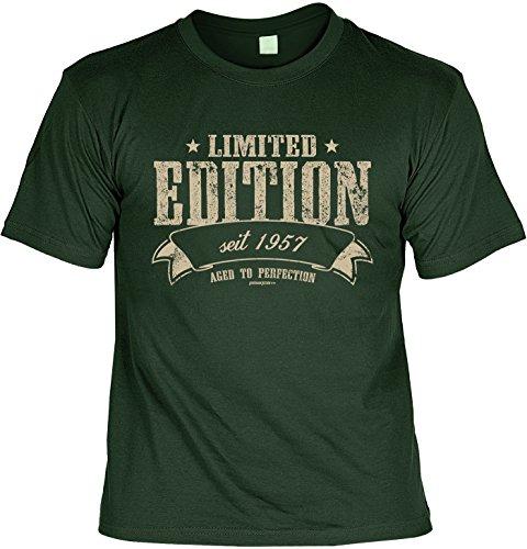 T-Shirt zum Geburtstag: Limited Edition seit 1957 - Aged to perfection - Tolle Geschenkidee - Baujahr 1957 - Farbe: dunkelgrün Dunkelgrün