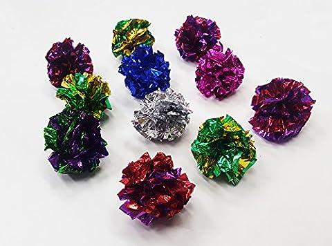 H for Happy Home - 12 x Mylar Crinkle Balls Crinkle Foil Balls Cat Kitten Sound Toy + Free Natural Organic Catnip