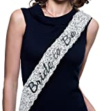Bachelorette Sash - Bride to Be - Stylish Lace in White, Pink, or Black - Letters Made with Sparkling Laser Technoloy - Bachelorette Party Favours Hen Party Bridal Shower Supplies (White)