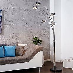"DESIGN LAMPADA AD ARCO ""5 FINGERS""   argento, cromato, 225 cm   lampada a stelo, piantana"