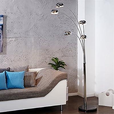 "DESIGN LAMPADA AD ARCO ""5 FINGERS"" | argento, cromato, 225 cm | lampada a stelo, piantana"