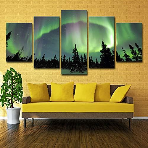 Leinwandbilder Wohnkultur Rahmen Hd Drucke Für Wohnzimmer Poster 5 Stücke Green Forest Aurora Landschaftsbilder Wand kein rahmen XL: 14X21-2P14X28-2P 14X35-1P