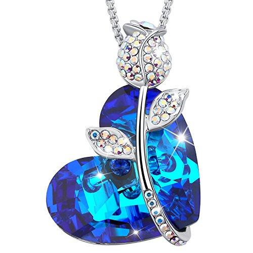 """MEGA CREATIVE JEWELRY """"Amor de la Rosa"""" Collares Mujer de Corazón para Las Damas Atractivas Cristales Swarovski Azul Bermuda Colgantes de la Moda Aleación, Regalo de la Joyería"""