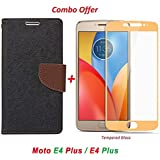 GOELECTRO Luxury Mercury Diary Wallet Style Black Brown Flip Cover Case For Motorola Moto E4 Plus Flip Cover - Moto E4 Plus Flip Cover + 2.5D Curved 3D Edge To Edge Tempered Glass Mobile Screen Protector (Brown-Gold)