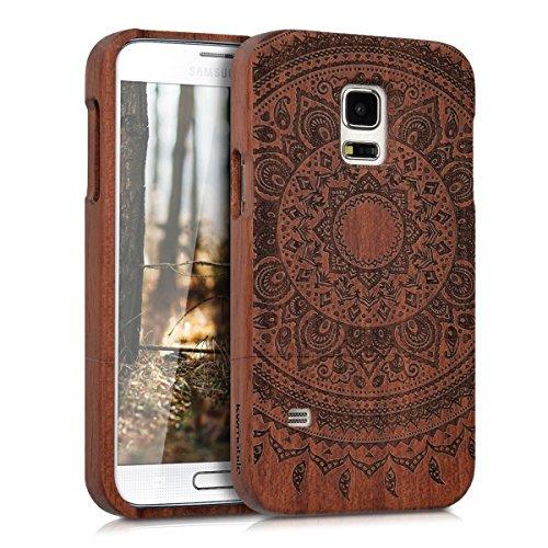 kwmobile Samsung Galaxy S5 Mini G800 Hülle - Handy Schutzhülle aus Holz - Cover Case Handyhülle für Samsung Galaxy S5 Mini G800 (Galaxy S5 Holz Case Mandala)