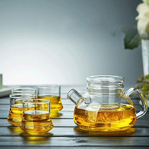 as Topf Transparente Bubble Teekanne Explosionsgeschützte Glas Teekanne Transparente Blume Teekanne 600 ml (Teekanne + 4 Tassen) GAODUZI ( form : A ) (Blume Teekanne)
