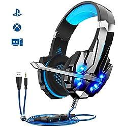 Micro Casque Gaming PS4, Casque Gamer Stéréo Lumière Stéréo Bass Anti-Bruit LED lumière avec 3.5mm Jack Compatible PS4/ Xbox One/PC/Mac/Nintendo