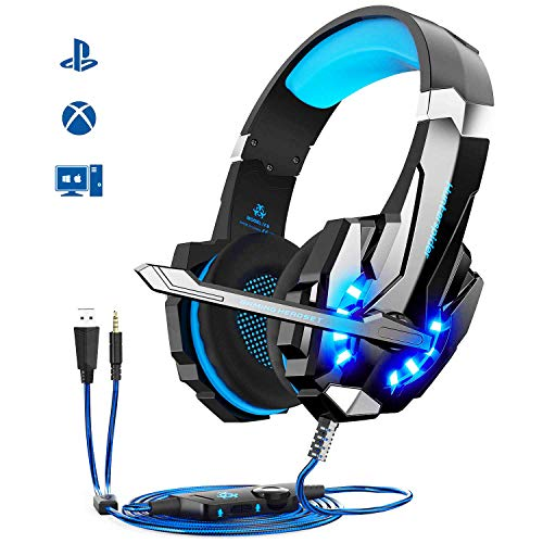 Cuffie da Gioco per PS4 Cuffie Gaming con 3.5 Jack LED Cuffie da Gaming con Microfono Bass Stereo e Controllo Volume Gaming Headset per PS4/Xbox One
