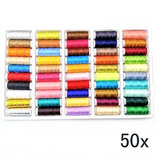 JZK 50 Verschiedene Farben Hochwertige Nähgarn Polyester Nähmaschinengarn Sewing Thread, 150 Yards Garne für nähgarne, für Nähmaschine und Handnähen