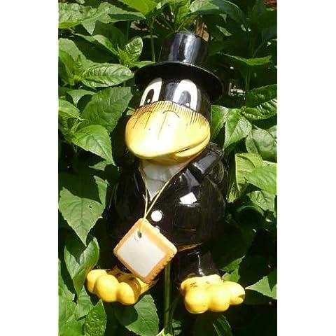 Ceramica Tangoo corvo sposo in abito nero con cilindro