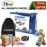 Condis Magnetische Bausteine 78 Teile, Magnetspielzeug, Magnete Kinder, Magnetbausteine, Magnet Spielzeug, Magnet Bausteine Kinder, Magnetspiele, Magnet Spiele für Kinder ab 3 Jahre Junge / Mädchen
