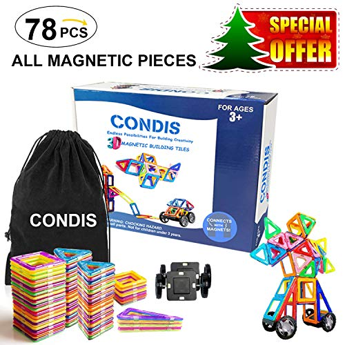 Condes Toys Children 3 Years, 4 5 6 7 Years, 78 Pieces Magnetic Building Blocks, Educational Construction Games, Magnetic Sets Magnetic Constructions for Boys Girls, Magnets Kids