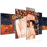 Bilder Gustav Klimt - Mutter und Kind Wandbild Vlies - Leinwand Bild XXL Format Wandbilder Wohnzimmer Wohnung Deko Kunstdrucke Braun 5 Teilig - MADE IN GERMANY - Fertig zum Aufhängen 700252a