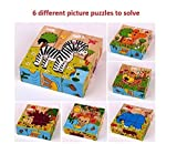 #8: Vibgyor Vibes™ Early Age 6 in 1 Wood Block Puzzles for small Kids. (Wild Animals/Zoo Animals theme)