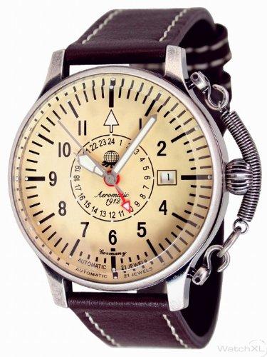 Aeromatic 1912 A1387 Aeromatic A1387 - Reloj , correa de cuero color marrón