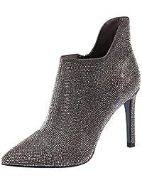 Señoras De Las Mujeres Stiletto Heel Botines Punta Estrecha Cremallera Rhinestone Sexy Wedding Party Botines Zapatos