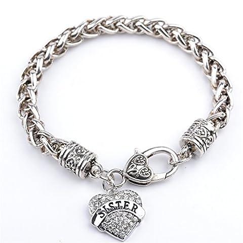 Femmes Freiner Chain Bracelet Plaqué Argent Peach Soeur Coeurs Charme