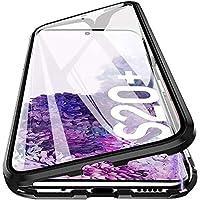 جراب معدني مزدوج أمامي وخلفي مغناطيسي 360 لهاتف Samsung Galaxy S20 plus S20+ جرابات زجاجية مغناطيسية من الزجاج الخلفي الشفاف وغطاء أمامي مع فتحة للبصمة - أسود