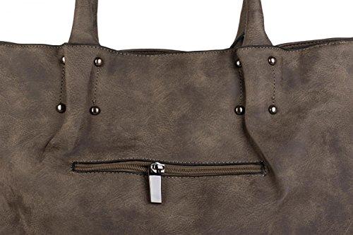 styleBREAKER Vintage Shopper Tasche mit All Over Nieten in Stern Form, Schultertasche, Umhängetasche, Handtasche, Damen 02012099, Farbe:Taupe Taupe