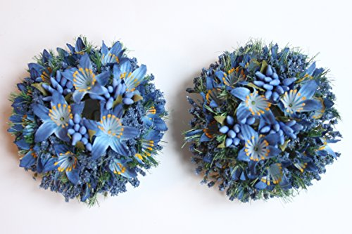 Kerzen-Ringe für Stabkerzen mit 2,5cm Durchesser 2 Stück–Frühlingsblumen-Kollektion Blau (Blue Lily) (Kerze Ring)