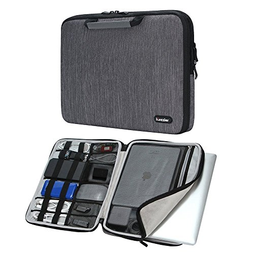 iCozzier 13-13,3 Zoll Notebook Hülle Sleeve Tasche mit Griffen/Multifunktionale Aufbewahrungs Zubehörtasche für 13 Zoll Laptop/Ultrabook/Notebook/Netbook/MacBook - Grau (Pro Fall Macbook Men)