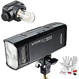 Godox AD200 200Ws TTL 2,4G HSS 1/8000s Double Tête Flash de Poche avec 2900mAh Batterie de Lithium, Tête de flash Speedlite(GN52) et Tête de Flash d'ampoule Nue(GN), Kit de Nettoyage Pergear pour Canon Nikon Sony DSLR Caméra