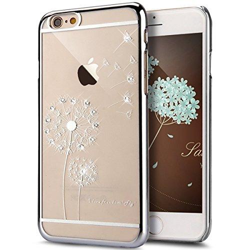Hülle für Apple iPhone 5 5s Edge Ultra Slim TPU Silikon Transparent, MyGadz Handyhülle Schutzhülle Muster Blume Löwenzahn Dandelion Glänzend Glitzer, Strass Kristall Crystal Diamant Stoßdämpfend Trans Silber