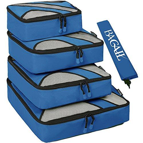 Set di 4 elementi di borsad'immagazzinamento di viaggiare, cubi di imballaggio per i bagagli, incluso il sacco della biancheria blu scuro nailon