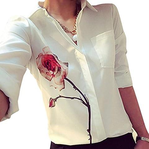 Fortan mujeres dicen rosa blusa de flores rechazar camisas de la gasa de cuello
