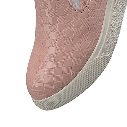 AgooLar Femme à Talon Bas Couleur Unie Tire Matière Souple Rond Chaussures Légeres Rose