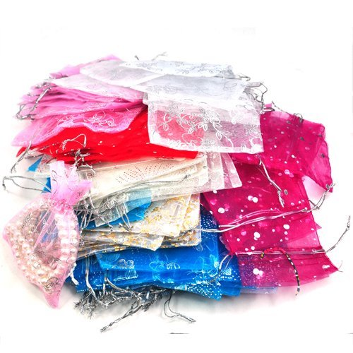 Gleader 100 Mixed Organza Wedding Favor Gift Bags Jewellery Pouch 13cm X 10cm