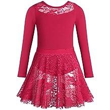 IEFIEL Lace Tutu Robe de Danse Ballet Fille Justaucorps de Danse à Manches  Longues Coton Léotard c00ab2a0d4f