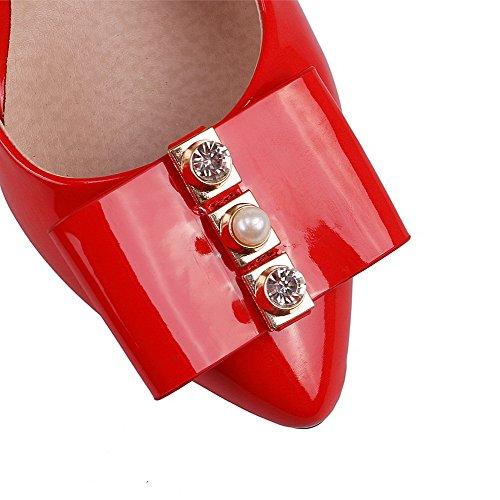 AllhqFashion Femme Pu Cuir Couleur Unie Tire Pointu à Talon Haut Chaussures Légeres Rouge