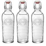 Bormioli Rocco Officina 1825 fogli mobili Vintage Top bottiglia di vetro - 1200ml (37.25oz) - Sereno - Set di 3