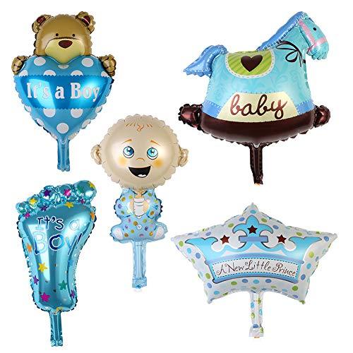 (xMxDESiZ Aluminium-Folienballon für Babyparty, Jungen, Mädchen, Happy Birthday, Party-Dekoration, 5 Stück)