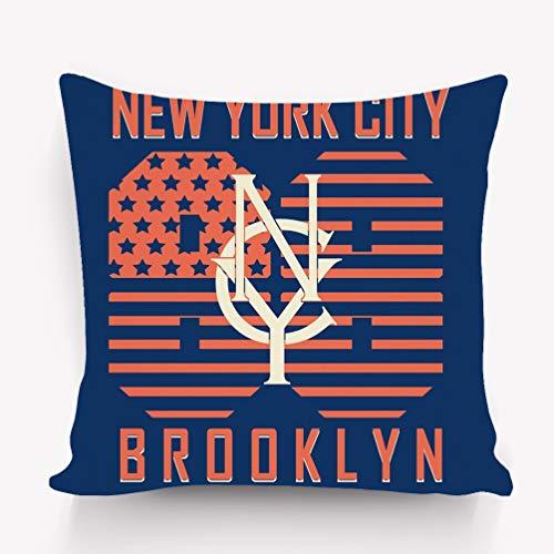 (rongxincailiaoke Kissenbezüge Pillow case Brooklyn original Sportwear New York City Sport Typography Label Printing Design wear 18 * 18 inch)