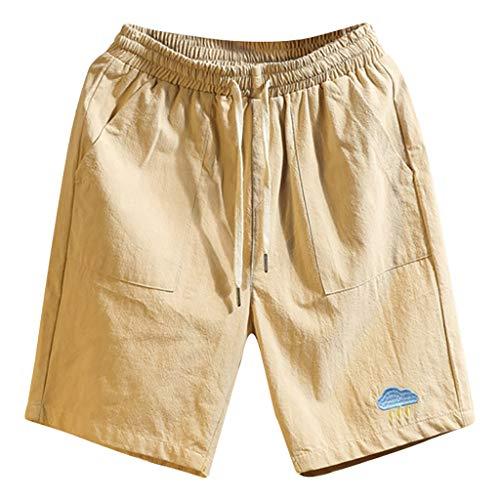 Sport Shorts Herren Sommer Strand Sea Surfen Kurze Hose Boxing Bermuda Running Fitness Gym Lightweight Training Shorts,Qmber Bestickte Baumwollshorts/Khaki,5XL -