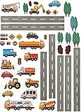Unbekannt 44 TLG. Set _ Wandtattoo / Sticker _  Straße mit Fahrzeuge & Auto  - zum Spielen & als Deko - Wandsticker - Aufkleber für Kinderzimmer - selbstklebend + wie..