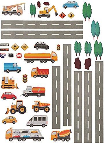 alles-meine.de GmbH 44 TLG. Set _ Wandtattoo / Sticker _  Straße mit Fahrzeuge & Auto  - zum Spielen & als Deko - Wandsticker - Aufkleber für Kinderzimmer - selbstklebend + wie.. (Spiel Auto-aufkleber)