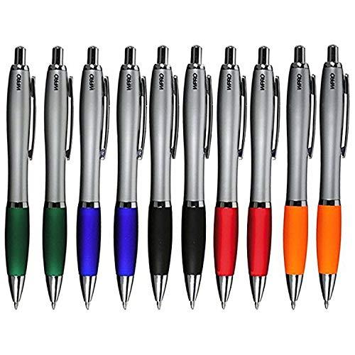 """Kugelschreiber 10 Stück """"David"""" in blaue Mine ergonomischer dicker Griff Neu Neutral Kulli ohne Gravur Druck Logo im 10er Set WPRO... (Farbenmix)"""