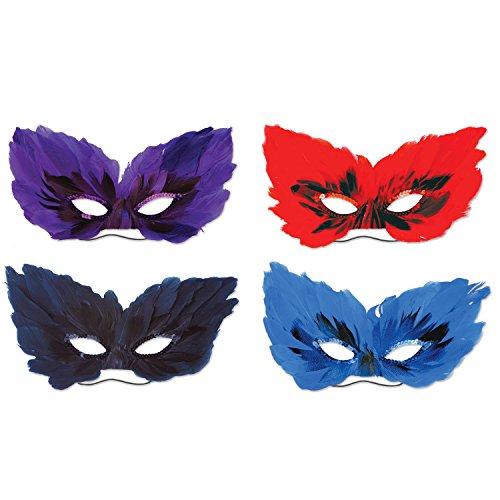 Beistle 52182, 4Stück Feather Masken, eine Größe passend für die meisten