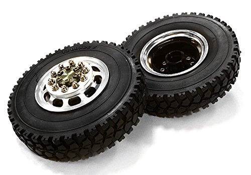 INTEGY RC Model Hop-ups c26572gun machined Alloy T5 Front Wheel & xD Tire Set for Tamiya 1/14 Scale Tractor Trucks