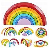 HJXJXJX Regenbogen Bausteine, Mini-Version des Puzzles mehrfarbige Bögen Kinder Holz gestapelt hohen Spielzeug